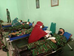 Jelang HUT TNI ke-76, Anggota Kodim Kuningan Ikuti Donor Darah