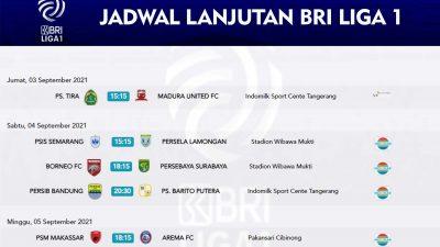 BRI Liga 1 Resmi di lanjutkan,Berikut Jadwal Pertandingan Selajutnya